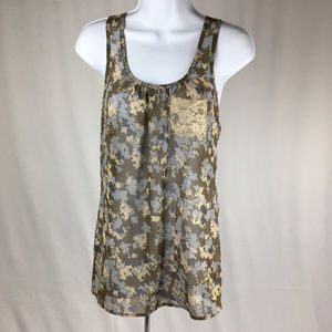 Lily White Sheer Tank Top with Lace Pocket